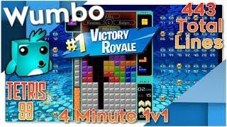 Tetris 99 - Insane Game - 4 Minute 1v1 - 443 Total Lines