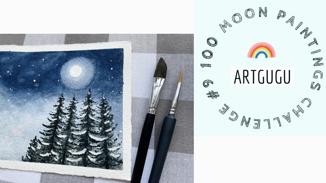 Watercolor painting tutorial Winter Snow Moon night /100 Moon Painting art #9 Snow covered trees