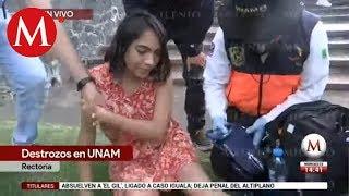 Tiran letras en Rectoría y lastiman a estudiante de la UNAM