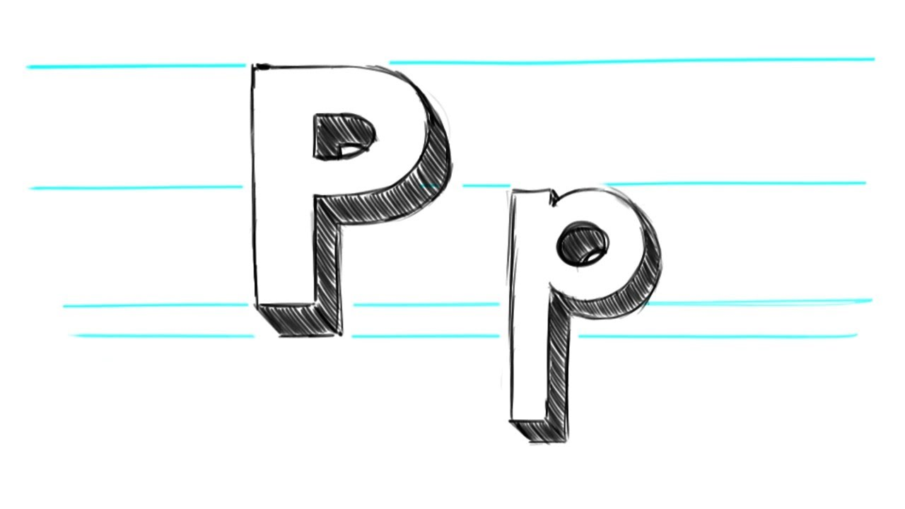 how to draw 3d letters p uppercase p and lowercase p in 90 seconds youtube