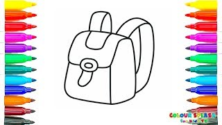 How to Draw a School Bag Coloring Pages   Kids  Learn Drawing   Art Colours for Children