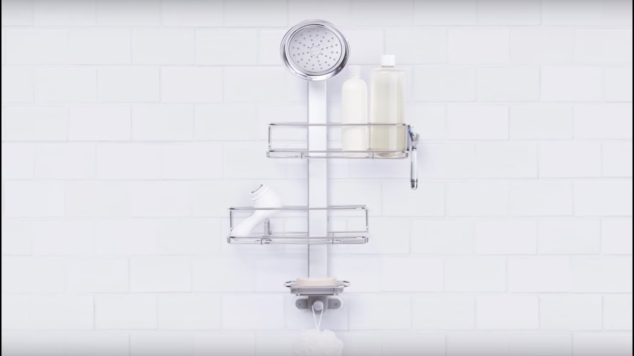 simplehuman Adjustable Shower Caddy - YouTube