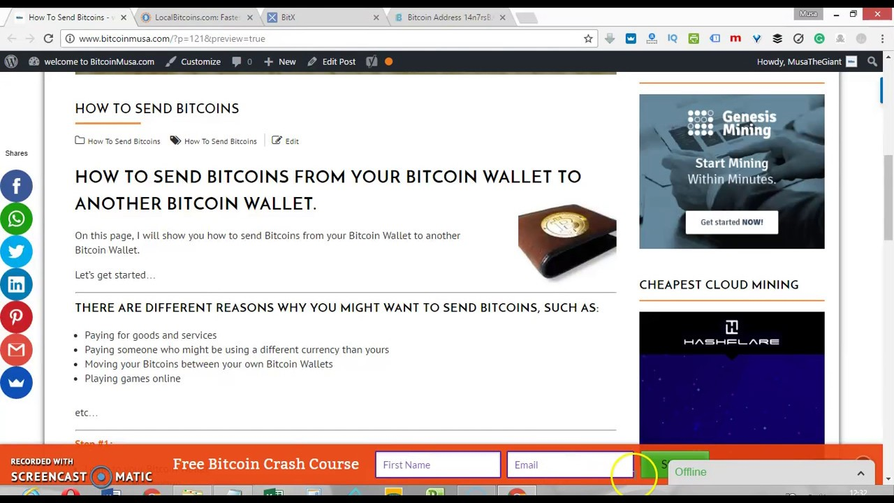 How to send bitcoins from your bitcoin wallet youtube how to send bitcoins from your bitcoin wallet ccuart Choice Image