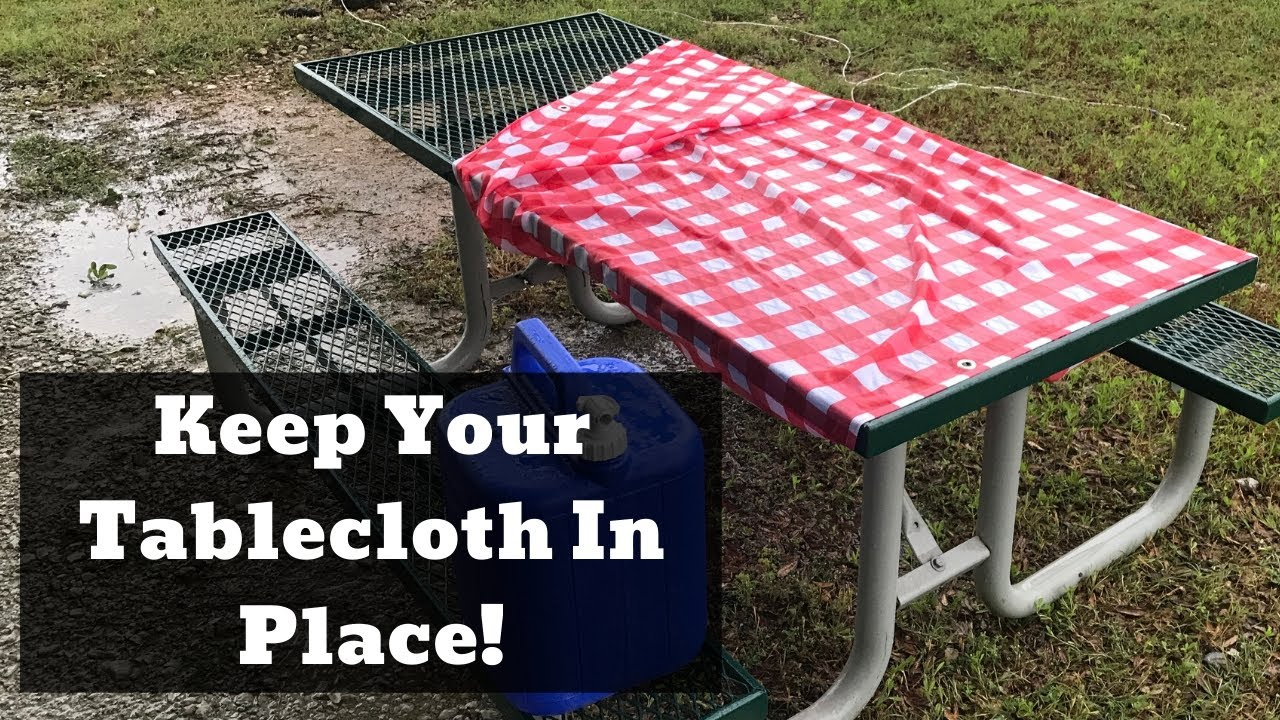 camp hack keep your picnic table cloth in place