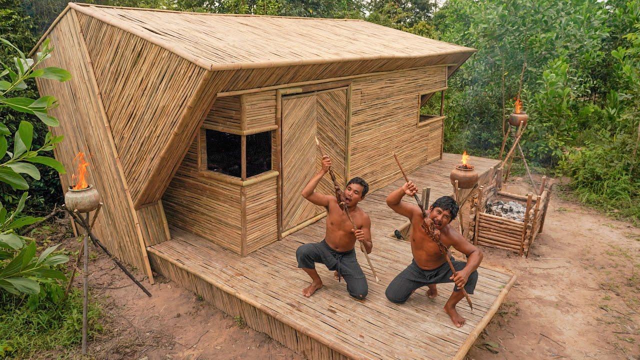 Build Bamboo Craft Villa House And Swimming Pools Part I