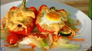 Stuffed pepper with cuscus and egg oven bake