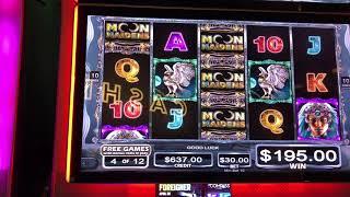 """Moon Maidens"" VGT Slots High Limits  $30 & $50 Spins Bonus Wins Choctaw Casino, Durant, OK"