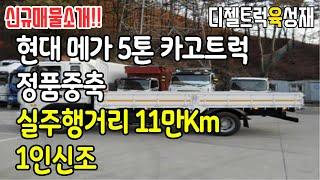 현대메가트럭 5톤카고정품중축 적재함길이5.3미터 1인신…