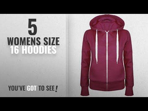 Top 10 Womens Size 16 Hoodies [2018]: Oops Outlet Ladies Plain Hoody Girls Zip Top Womens Hoodies