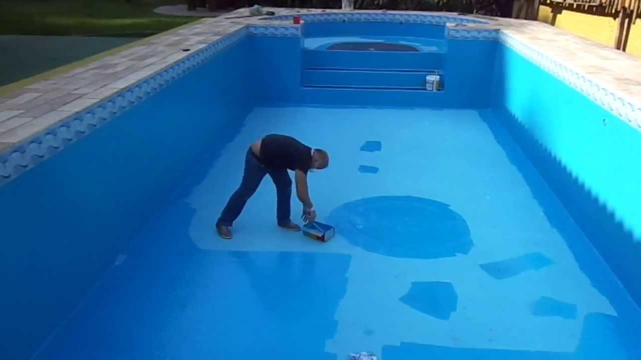 Pintura de piscina de fibra de vidro manchada desbotada - Piscinas de fibra ...