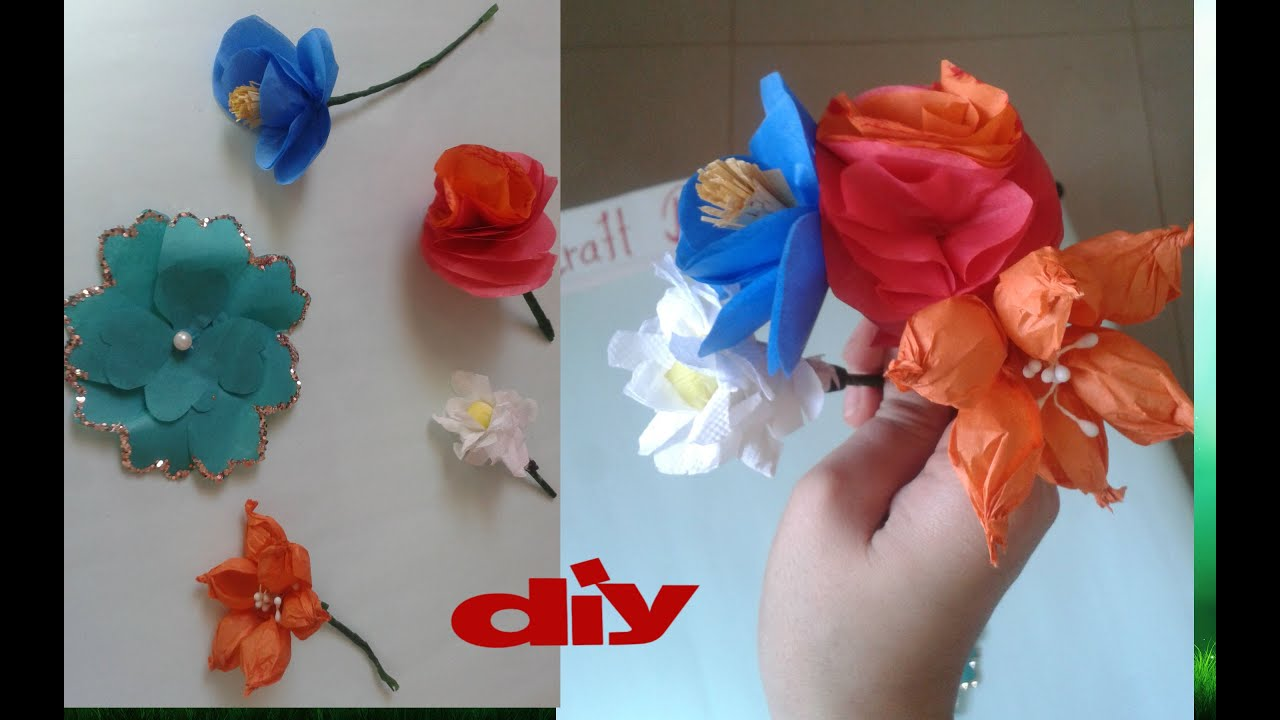 Diy 5 types of tissue paper flowers easy to make youtube diy 5 types of tissue paper flowers easy to make mightylinksfo
