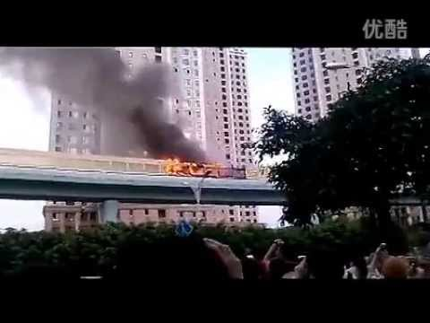 China: Dozens Killed In Commuter Bus Blaze (video)