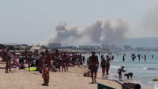 Пожар в Анапе тушат с самолета. Посадка на море.  Вертолеты не справились