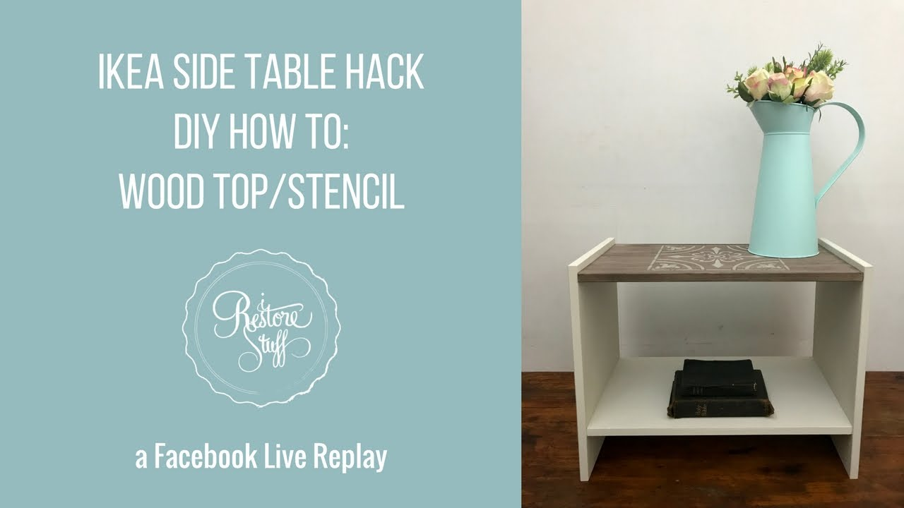 Ikea Side Table Hack Wood Top White Base Stencil How To