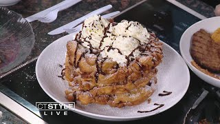 In The Bender Kitchen: Six Flags New England serving three tier funnel cakes