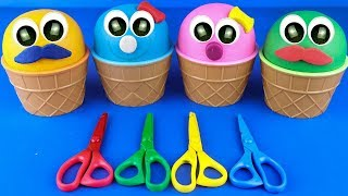 4 Colors Play Doh Ice Cream Cups LOL Chupa Chups Surprise Toys Roblox Kinder Surprise Eggs Rhymes