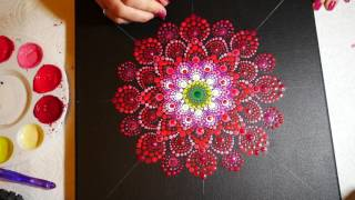How to paint dot mandalas with Kristin Uhrig #15-  Red Dahlia