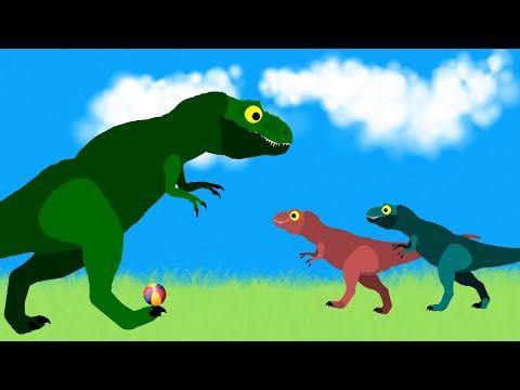 Funny Dinosaurs Cartoons: Tyrannosaurus Rex And Allosaurus - Ball Game