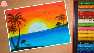 Download How To Draw Sunset Scenery Of Beach Step By Step