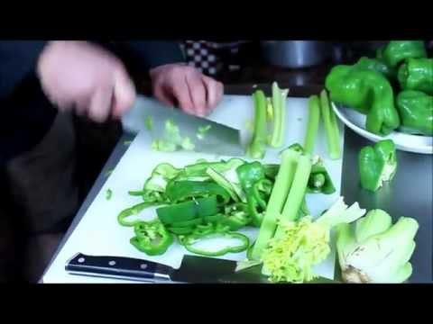 D-9 Small Cleaver on Celery - Maestro Wu Bombshell Steel Knives