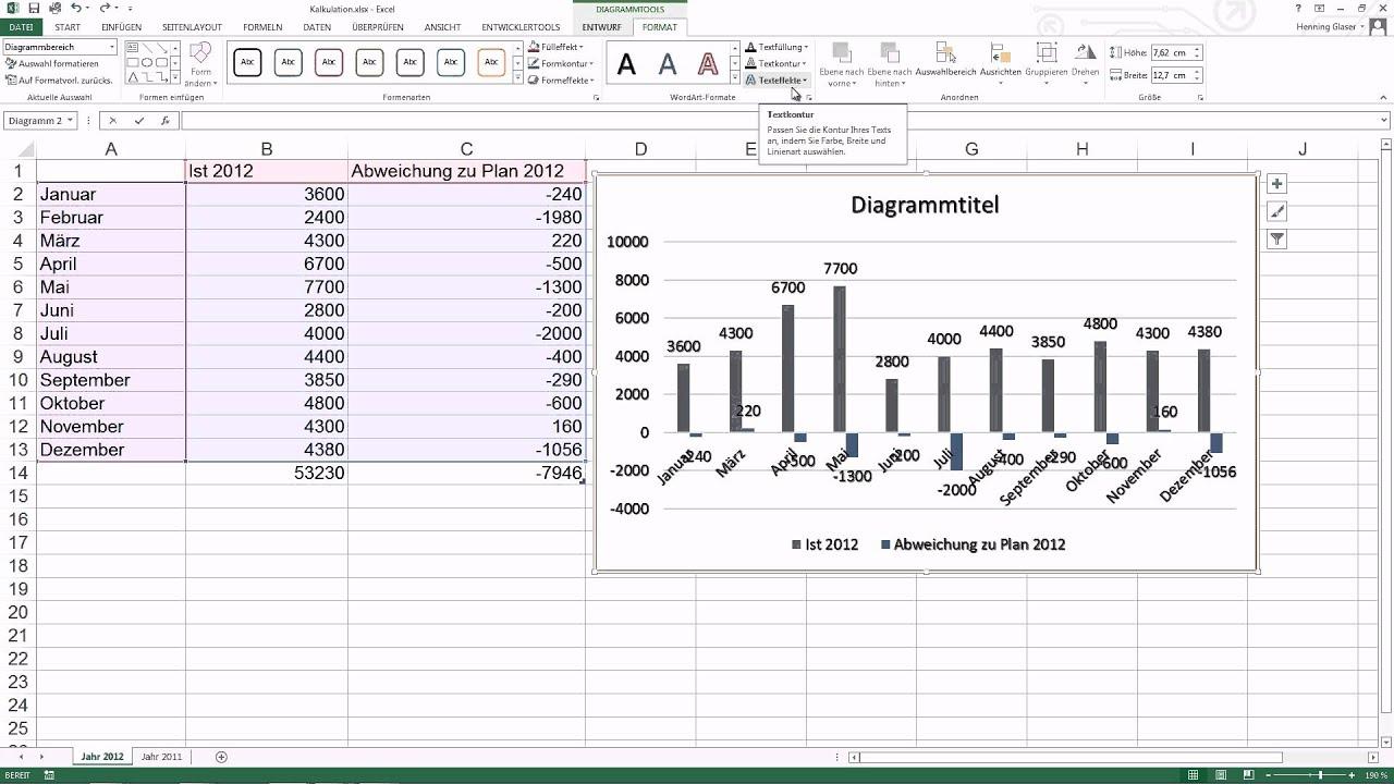Excel 2013 Diagramm erstellen - YouTube