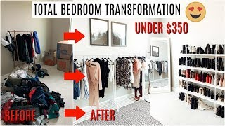 TOTAL Bedroom TRANSFORMATION into DIY CLOSET UNDER $350 *omg*
