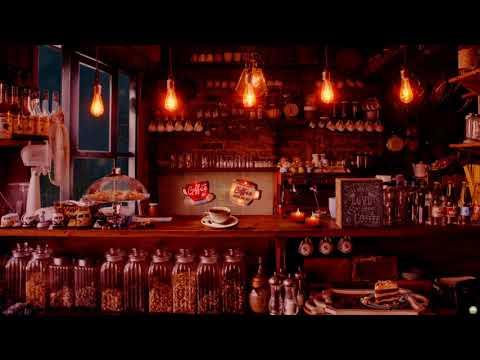 Rainy Night Coffee Shop Ambience ☕   Relaxing Jazz Music & Rain Sounds   Autumn Ambience, ASMR ...