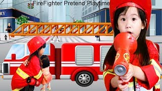 Firefighter Costume Pretend Play for Kids with Food Cooking Toys