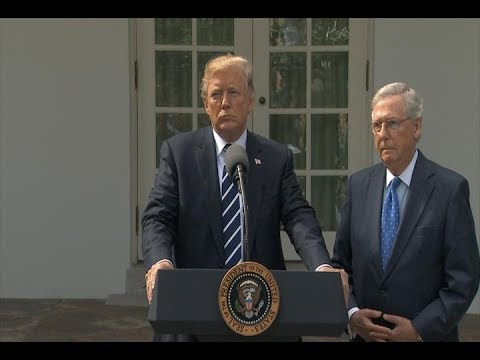 President Donald Trump delivers a statement from the Rose Garden