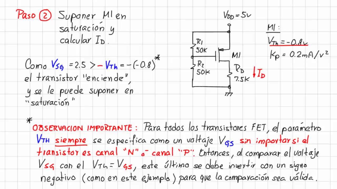 Circuito Transistor : 20.3 ejemplo de análisis de un circuito con transistor pmos youtube