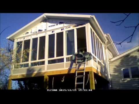 Double glazed Sunroom two story sunroom being constructed by Ideal Sundecks (1979) LTD