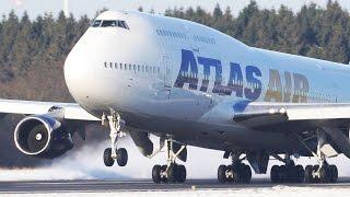 4 Boeing 747` s in the SNOW - Boeing 747 Departures and Landings