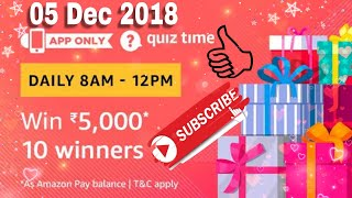 Amazon Quiz Answers Today|Win ₹5,000-10 winners|5th December 2018