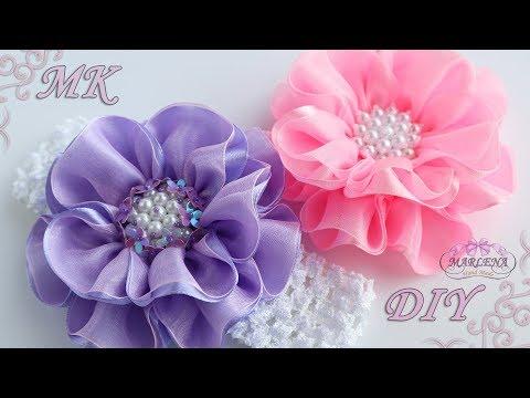 ✿ Цветы из лент и органзы. Повязка на голову. Канзаши МК/DIY