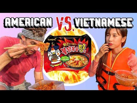 KOREAN FIRE NOODLE CHALLENGE! American VS Vietnamese | ĐẠI CHIẾN MÌ CAY! Người Mỹ VS Người Việt