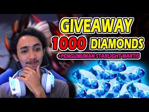 GIVEAWAY 1000++ DIAMONDS DAN PENGUMUMAN SKIN STARLIGHT MARTIS - MOBILE LEGENDS GIVEAWAY #3