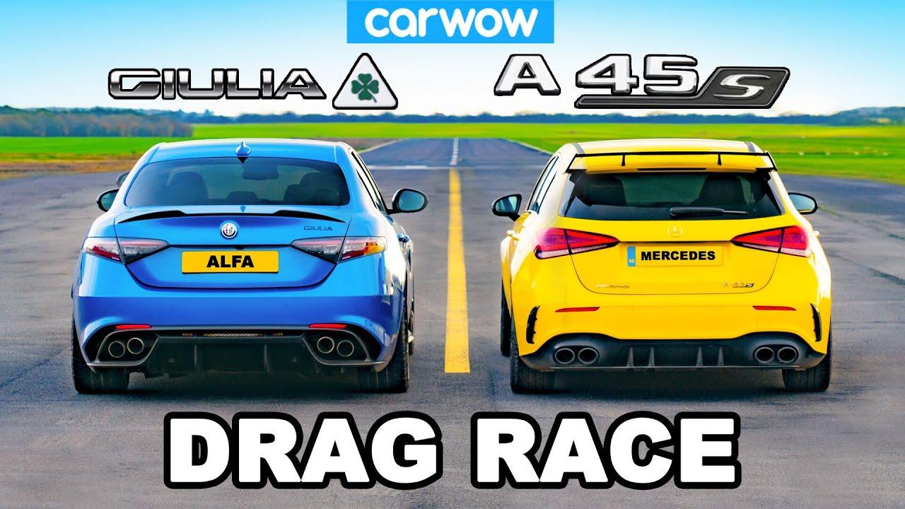 AMG A45 S v Alfa Romeo Giulia QV - DRAG RACE - carwow
