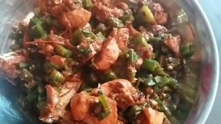 bhindi gosht recipe village style-lady finger & chicken desi style (भिंडी गोश्त بھندی گوشت )