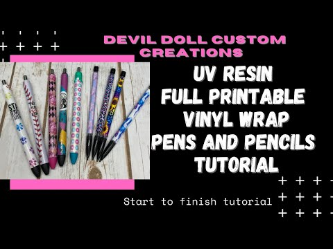 Full Printable vinyl wraps pens and mechanical pencils using UV resin tutorial.