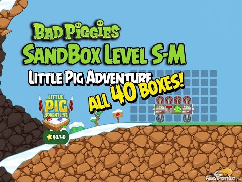 Bad Piggies Little Pig Adventure S-M Sandbox Walkthrough - ALL 40 BOXES!!!