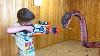 Anaconda invaded the house  Нерф против змеи