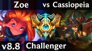 ZOE vs CASSIOPEIA (MID) ~ Pentakill, Legendary ~ EUW Challenger ~ Patch 8.8