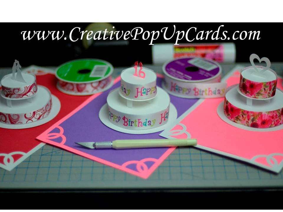 how to make a wedding cake card box with fabric how to make a birthday cake or wedding cake pop up card 15886