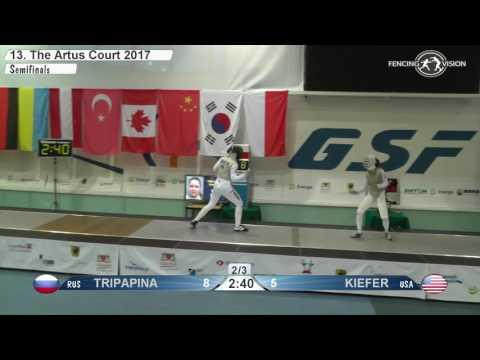 FE W F Individual Gdansk POL World Cup 2017 Semifinal 01 podium KIEFER USA vs TRIPAPINA RUS