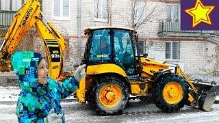 Трактор работает в снегу молотком Машины для детей Kids video tractor(Привет, ребята! В этой серии Игорюша оценивает желтый трактор в работе. Трактор взламывает асфальт большим..., 2016-12-02T05:00:03.000Z)
