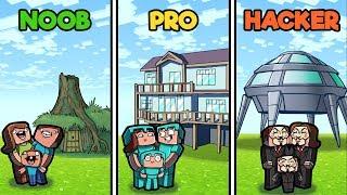 Minecraft - VACATION HOUSE CHALLENGE! (NOOB vs PRO vs HACKER)