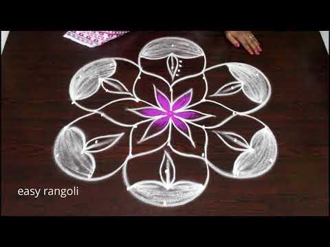 Amazing Diya kolam designs || latest easy deepam rangoli || Diwali color muggulu 2018