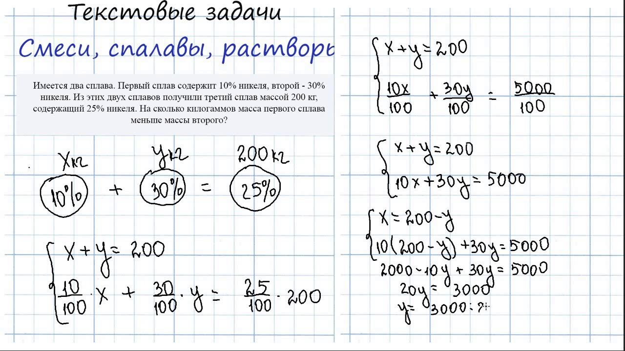 Как решить задачу со сплавами решения задач по математике на смеси