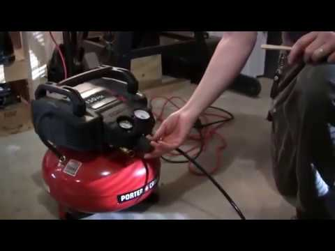 Using the Porter Cable 150 psi air compressor and nailer