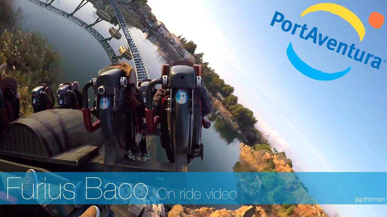 port aventura spain furius baco roller coaster on ride